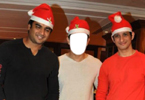 Aamir Khan, Madhavan and Sharman Joshi with Christmas hat