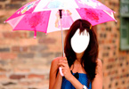Genelia D'Souza with pink umbrella